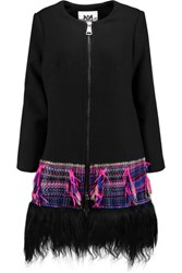 Milly Goat Hair And Boucle Tweed Trimmed Crepe Coat Black