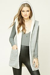 Forever 21 Faux Shearling Lined Vest Heather Grey
