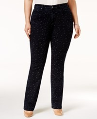 Charter Club Plus Size Star Print Straight Leg Jeans Only At Macy's Rinse Combo