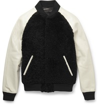 Coach Shearling And Leather Varsity Jacket Black