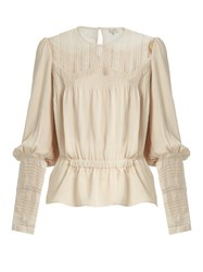 Talitha Long Sleeved Lace Panel Silk Shirt Ivory