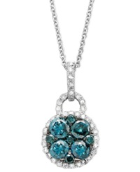Effy Collection Bella Bleu By Effy Diamond Blue And White Diamond Circle Pendant 9 10 Ct. T.W. In 14K White Gold