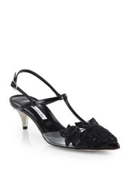Oscar De La Renta Azra Transluscent And Beaded Applique Leather Pumps Black