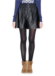 Etoile Isabel Marant 'Jervis' Smocked Faux Leather Shorts Black