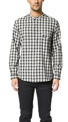Shades Of Grey Band Collar Popover Black Plaid
