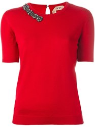 N 21 No21 Embellished Neck Knitted T Shirt Red