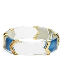 Alexis Bittar Lucite Crystal Encrusted Chevron Hinge Bangle Horizon Blue