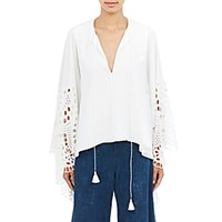 Chloe Women's Crepe De Chine And Eyelet Blouse White