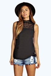 Boohoo Lace High Neck Woven Top Black