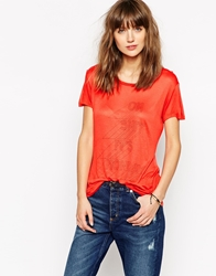 Ganni Relaxed Short Sleeve T Shirt Red