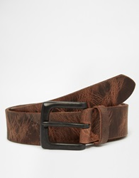 New Look Distressed Leather Belt Brown