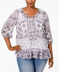 Styleandco. Style And Co. Plus Size Sheer Printed Peasant Top Desire Tile