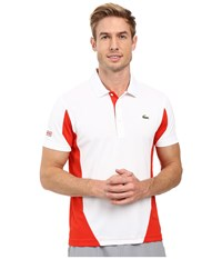 Lacoste T1 Short Sleeve Ultra Dry Color Block White Matador Red Men's Clothing