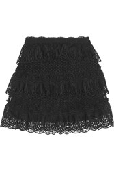 Self Portrait Tiered Guipure Lace Mini Skirt