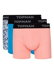 Topman Blue And Pink Paint Splat Trunks 3 Pack Multi