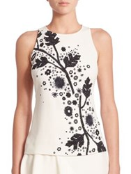 Peter Pilotto Sleeveless Printed Cady Top White Black