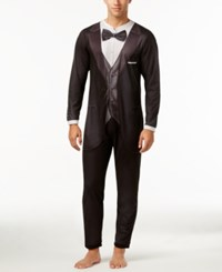 Briefly Stated Men's Tuxedo Jumpsuit Pajamas Black