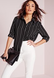 Missguided Crepe Stripe Blouse Monochrome Black