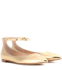 Gianvito Rossi Gia Metallic Leather Ballerinas Gold