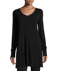 Eileen Fisher V Neck Long Sleeve Tunic Black