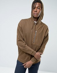 Asos Oversized Hoodie With Woven Pocket And Zip Balsam Brown