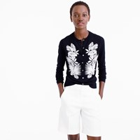J.Crew Pre Order Cotton Jackie Cardigan Sweater In Embroidered Palm