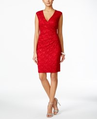 Connected Cap Sleeve Sequined Lace Dress Red