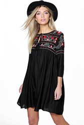 Boohoo Abby Heavy Embroidered Smock Dress Black