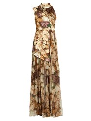 Christopher Kane Wilted Rose Print Asymmetric Gown Beige Multi