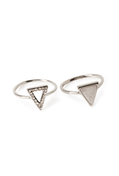 Forever 21 Triangle Ring Set Silver White