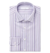 Etro Purple Slim Fit Striped Cotton Shirt Purple