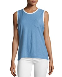 James Perse Ringer Contrast Trim Knit Tank Heaven Pigment White