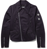 Raf Simons Embroidered Cotton Twill Biker Jacket Blue