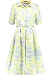 Raoul Ava Metallic Cotton Blend Jacquard Dress Lime Green