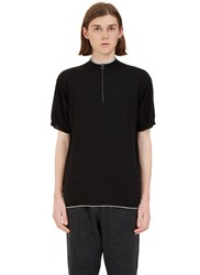 Lanvin Jersey Knit Zip Up Polo Shirt Black