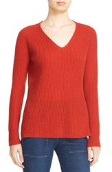 Autumn Cashmere Women's Shaker Stitch V Neck Sweater Spiceberry