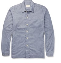 Oliver Spencer Loungewear Lux Cotton Chambray Overshirt Blue