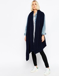Pieces Ribbed Oversized Blanket Scarf Navy
