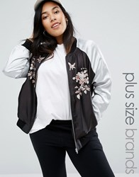 New Look Plus Embroidered Sateen Bomber Jacket Black Pattern