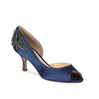 Paradox London Pink Mid Heel Finery Peep Toe Shoe Navy