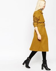 Asos Coat With Trench Details In Wool Yellow