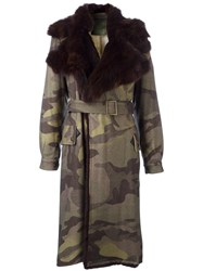 Mr And Mrs Italy Camouflage Belted Coat Green