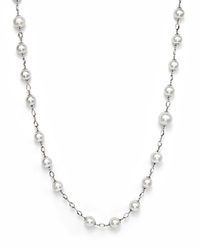Bloomingdale's 18K White Gold And Cultured South Sea Pearl Necklace With White Sapphires 42 White Gold