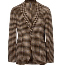 Incotex Brown Slim Fit Unstructured Houndstooth Wool Blend Blazer Brown