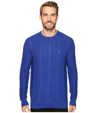 Lacoste Long Sleeve Resort Cotton Cable Crew Neck Steamship Blue Men's Sweater