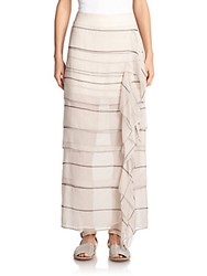 Brunello Cucinelli Tiered Stripe Silk Maxi Skirt Vanilla