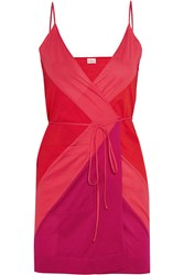 Eres South Color Block Cotton Jersey Mini Dress Red Pink