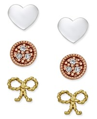 Giani Bernini Tri Tone 3 Pc. Set Stud Earrings In Sterling Silver Gold Plated Sterling Silver And Rose Gold Plated Sterling Silver Only At Macy's Tri Tone