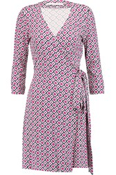 Diane Von Furstenberg Julian Printed Cotton And Silk Blend Jersey Wrap Dress Purple