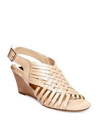 Steve Madden Livvey Leather Wedge Sandals Nude
